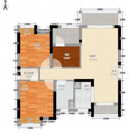 保利中央公馆3室1厅1卫1厨60.07㎡户型图