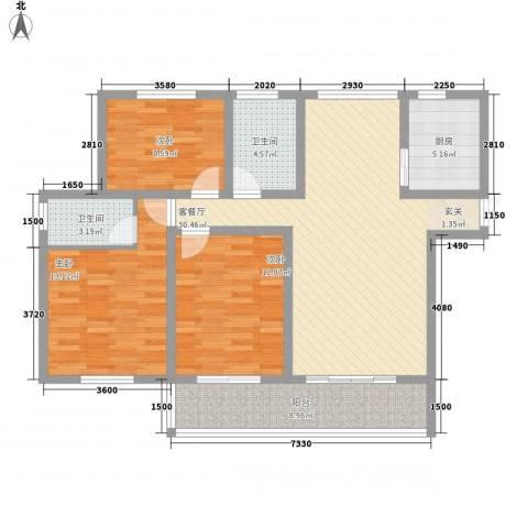 蓝柏湾3室1厅2卫1厨126.00㎡户型图