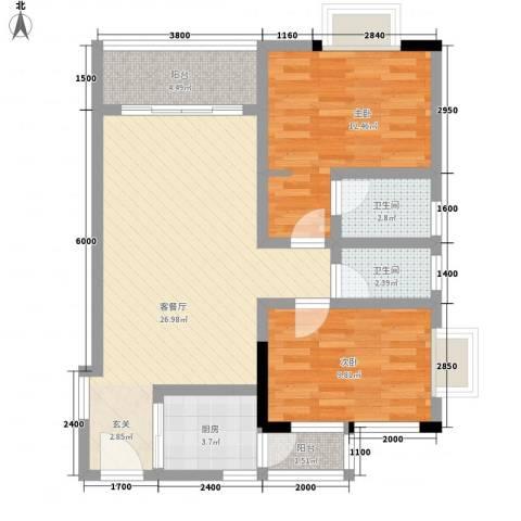 香港街2室1厅2卫1厨84.00㎡户型图