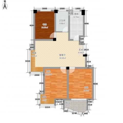 翡翠城3室1厅1卫1厨126.00㎡户型图