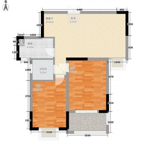 城南一村2室1厅1卫1厨95.00㎡户型图