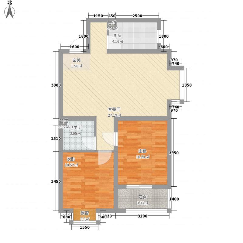 燕大星苑红树湾88.00㎡B2户型2室2厅1卫1厨