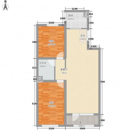 中信御园2室1厅1卫1厨103.00㎡户型图