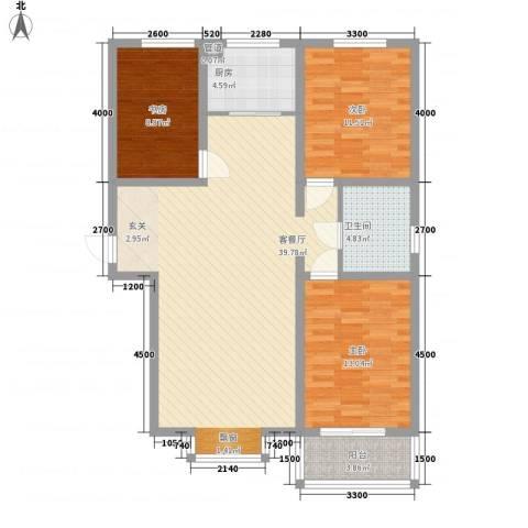 燕大星苑红树湾3室1厅1卫1厨125.00㎡户型图