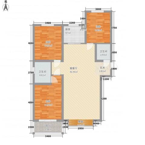 燕大星苑红树湾3室1厅2卫1厨138.00㎡户型图