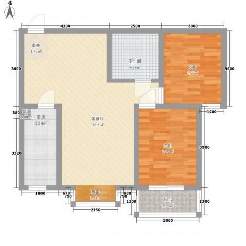燕大星苑红树湾2室1厅1卫1厨63.81㎡户型图