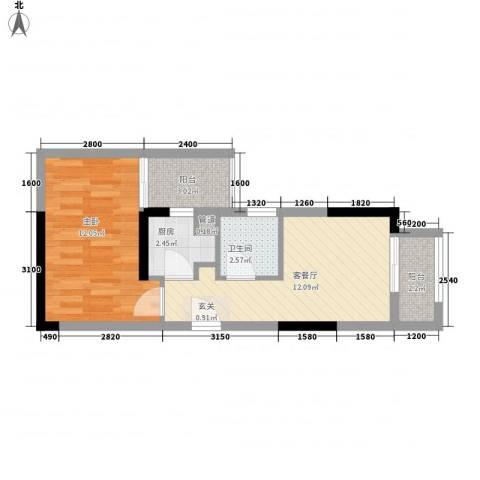 上城国际1室1厅1卫1厨51.00㎡户型图