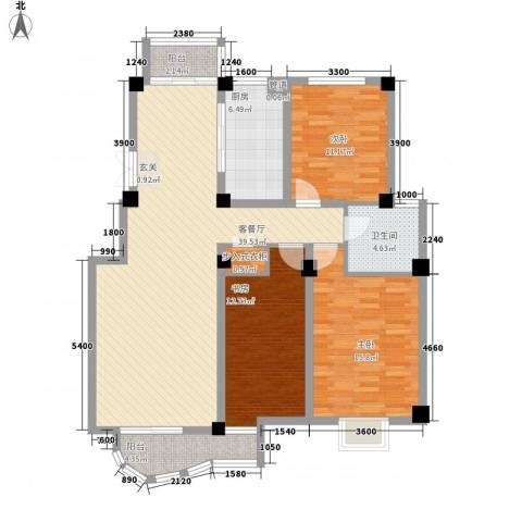 翡翠城3室1厅1卫1厨141.00㎡户型图