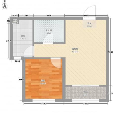 太阳城1室1厅1卫1厨58.00㎡户型图