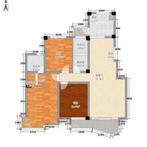 翡翠城3室2厅2卫1厨143.00㎡户型图