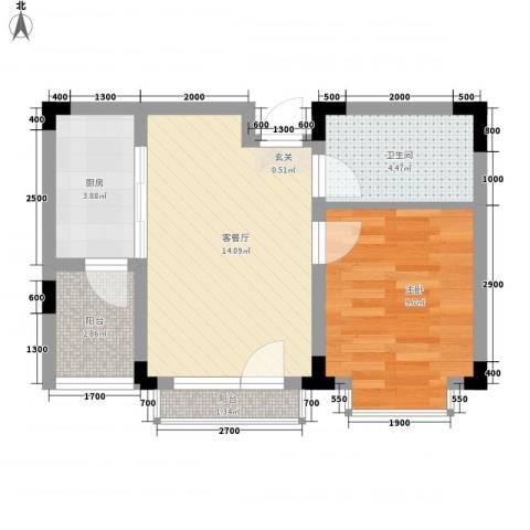 万达长白山国际度假区1室1厅1卫1厨49.00㎡户型图