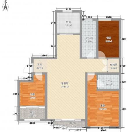 和谐家园3室1厅2卫1厨136.00㎡户型图