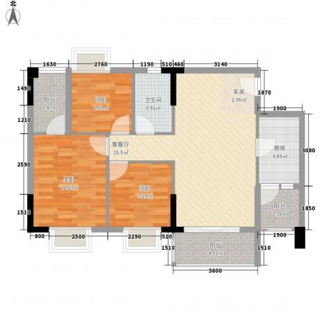 翰林名苑3室1厅1卫1厨71.01㎡户型图