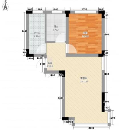 万达长白山国际度假区1室1厅1卫1厨55.00㎡户型图