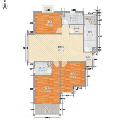 东盛・公园1号1室1厅2卫1厨152.00㎡户型图