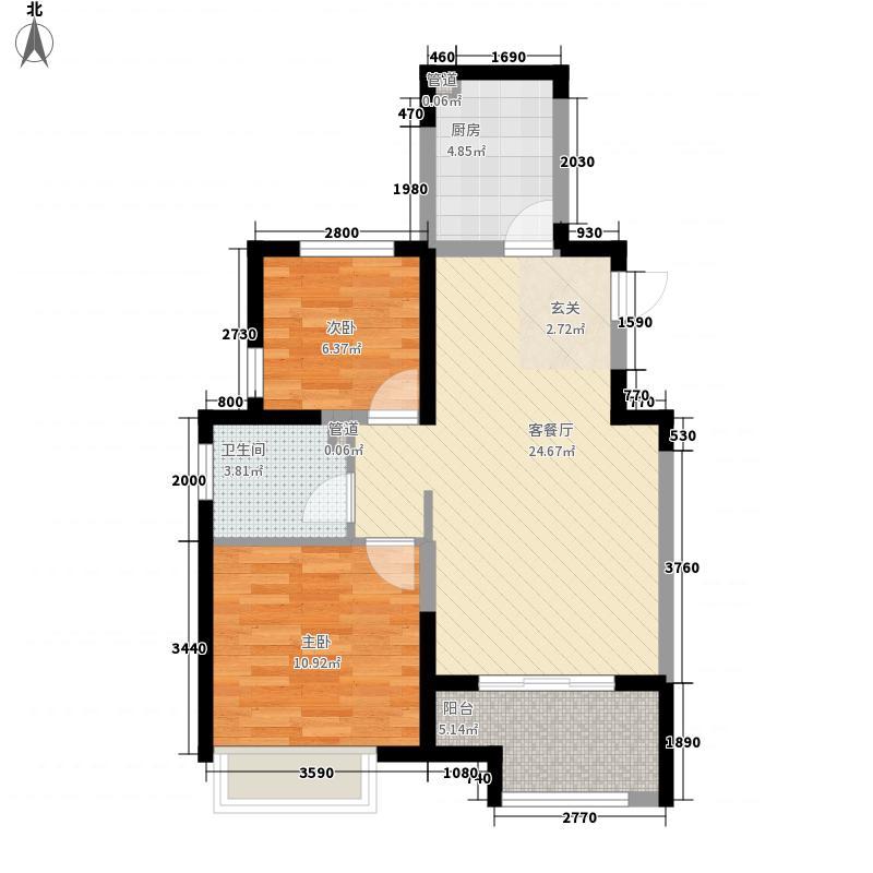 蓝山湾三期I派8.80㎡2#3#F2户型2室2厅1卫1厨