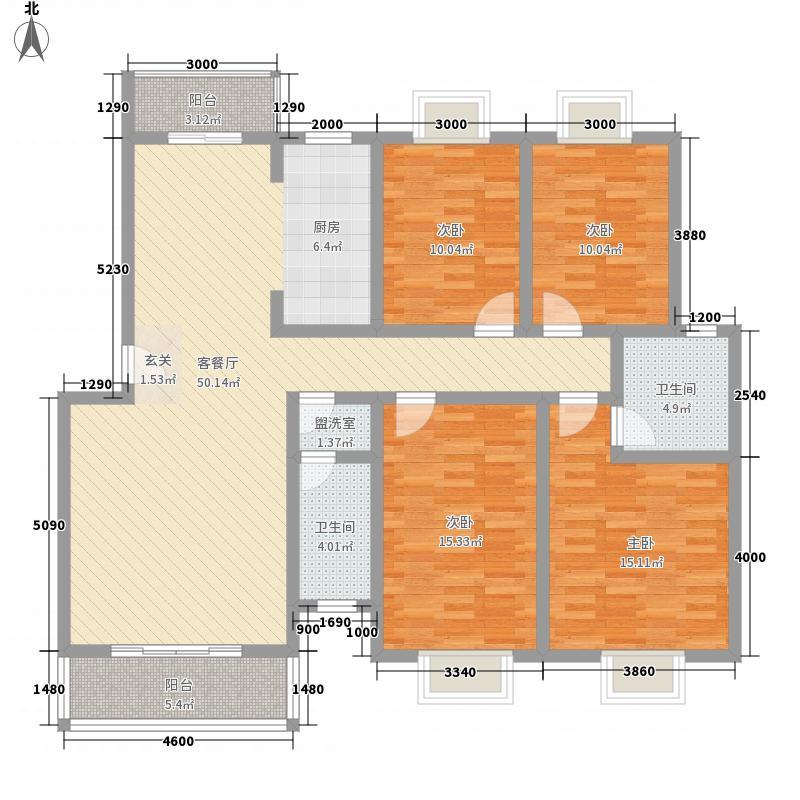广安城137.00㎡小区户型4室