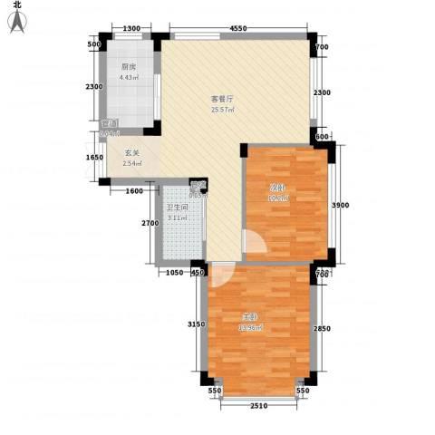 万达长白山国际度假区2室1厅1卫1厨78.00㎡户型图