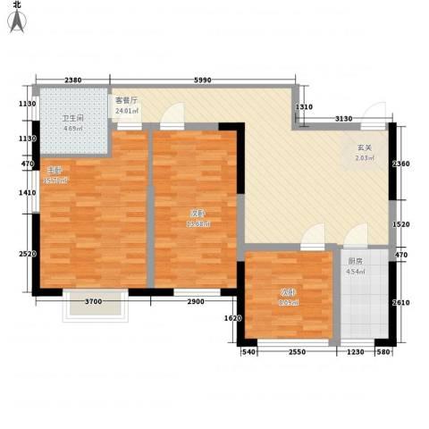 益华御才湾3室1厅1卫1厨100.00㎡户型图