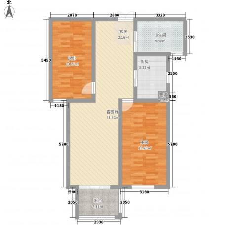 汇龙国际花园2室1厅1卫1厨78.64㎡户型图