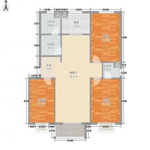 盛景华庭3室1厅3卫1厨130.00㎡户型图