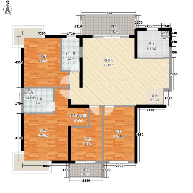 棕榈印象5jpg户型4室2厅1卫1厨