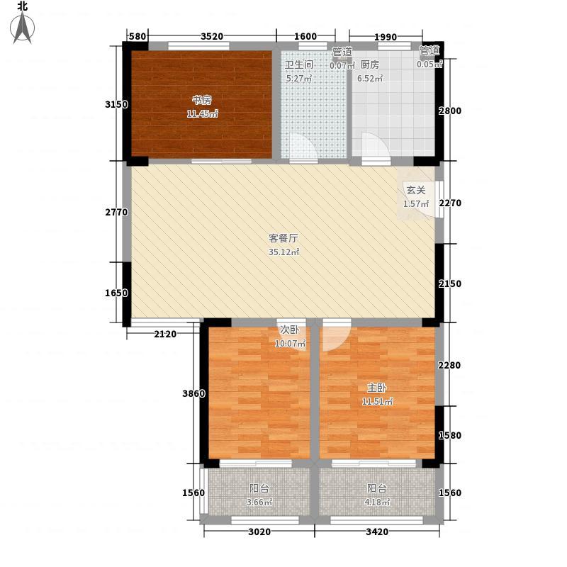 蓝海湾卡地亚14.00㎡E户型3室2厅1卫1厨