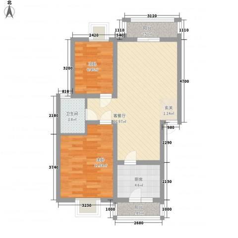 美洲花园E区2期2室1厅1卫1厨78.00㎡户型图