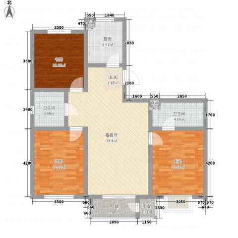 富贵园3室1厅2卫1厨119.00㎡户型图
