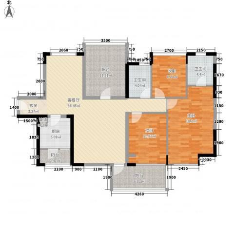 南海玫瑰花园3室1厅2卫1厨154.00㎡户型图