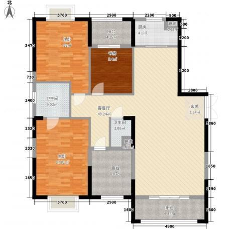 益华御才湾3室1厅2卫1厨170.00㎡户型图