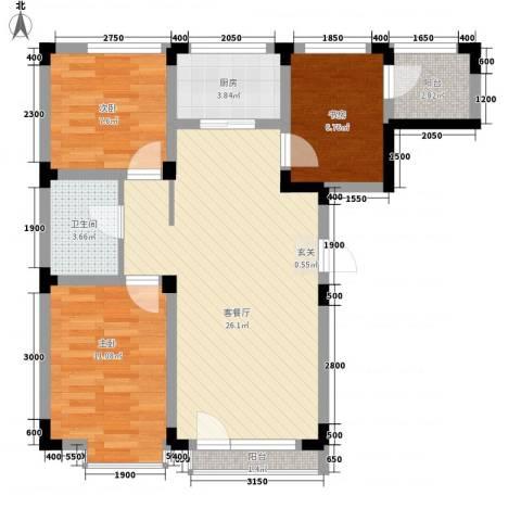万达长白山国际度假区3室1厅1卫1厨88.00㎡户型图