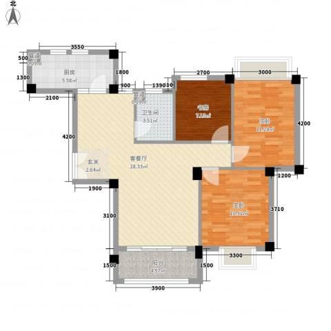 上城国际3室1厅1卫1厨71.47㎡户型图