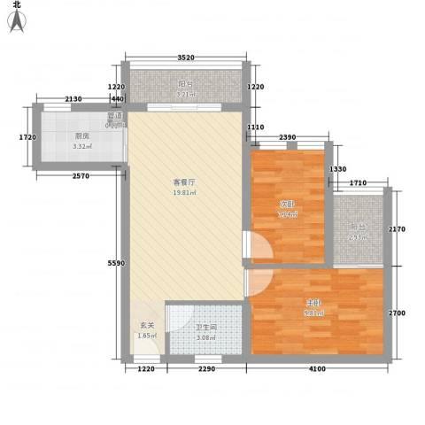 金沙丽晶苑二期2室1厅1卫1厨72.00㎡户型图