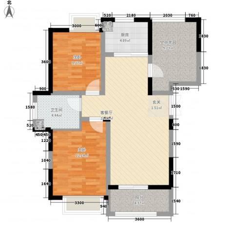 上城国际2室1厅1卫1厨68.61㎡户型图
