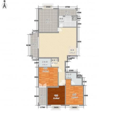 益华御才湾3室1厅2卫1厨190.00㎡户型图