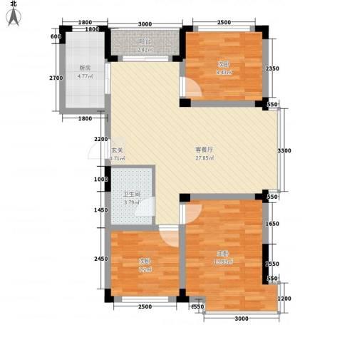 万达长白山国际度假区3室1厅1卫1厨67.89㎡户型图