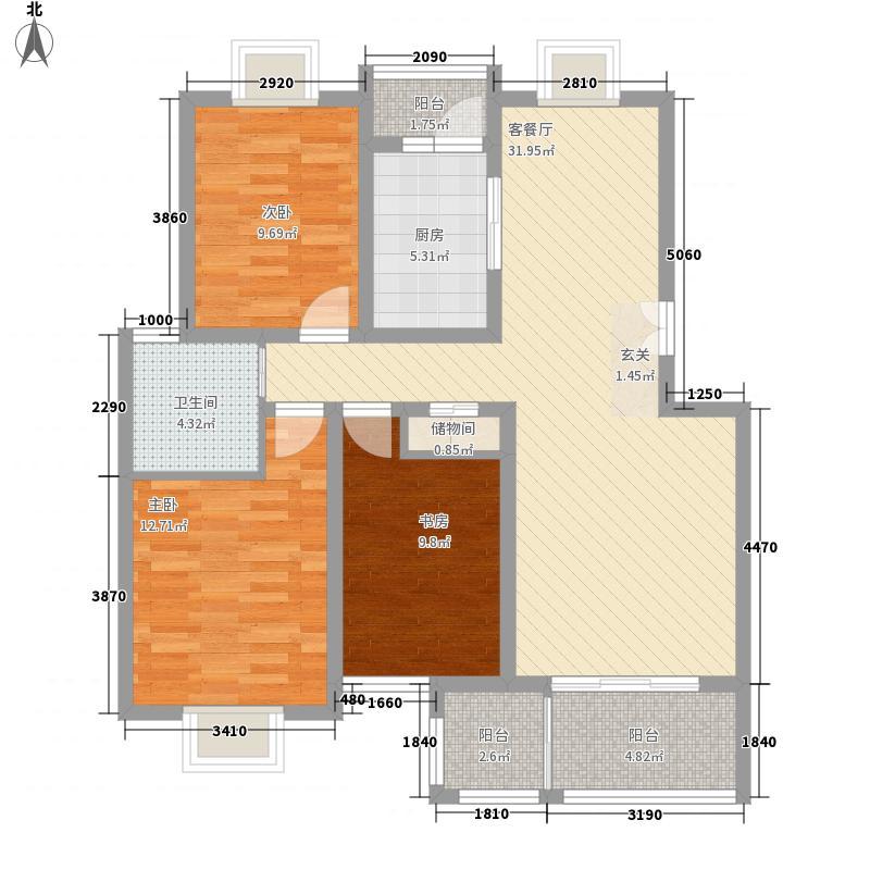 东方百合园122.00㎡浓情亲伦居户型3室2厅1卫1厨