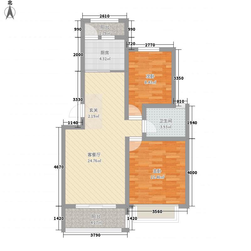 胶北如意家园88.00㎡2、5、7、8、9#C户型2室2厅1卫1厨