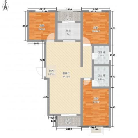 鼎原时代3室1厅2卫1厨126.00㎡户型图