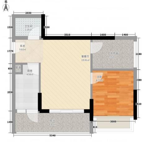 天烽新地1室1厅1卫1厨68.00㎡户型图