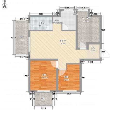 金域蓝湾2室1厅1卫1厨103.00㎡户型图