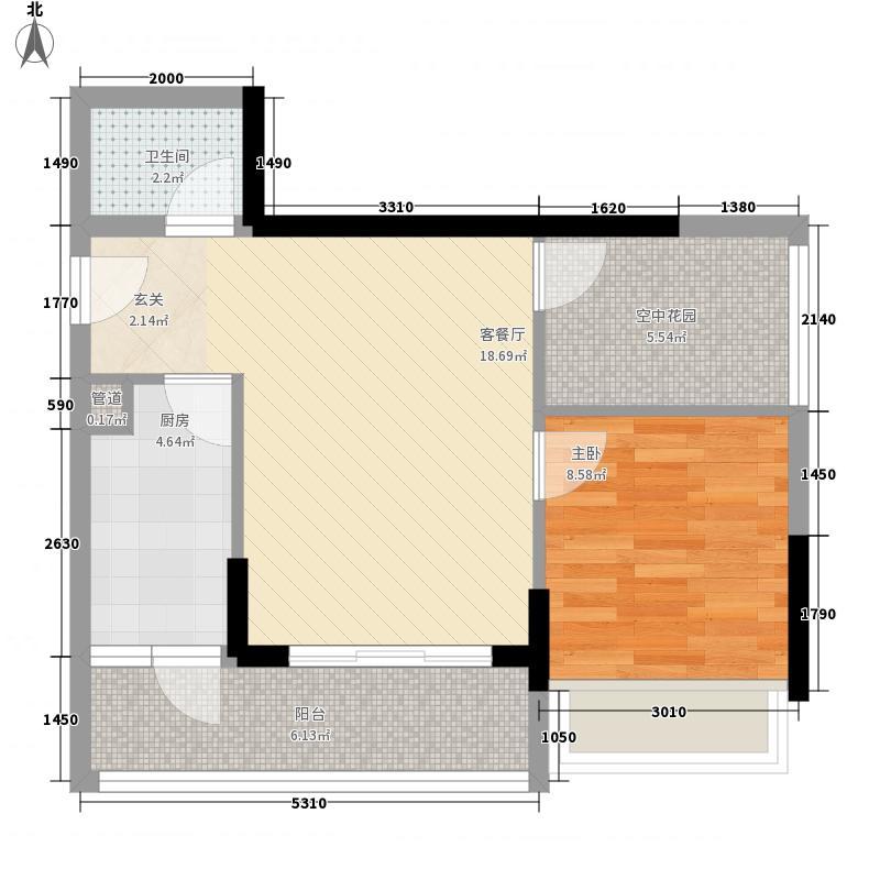 天烽新地63.70㎡B2户型1室1厅