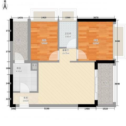天烽新地2室1厅1卫1厨74.00㎡户型图