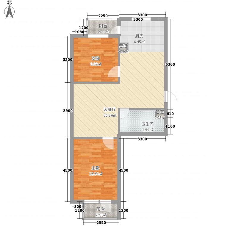 糖果社区二期78.20㎡126#E户型2室2厅1卫1厨