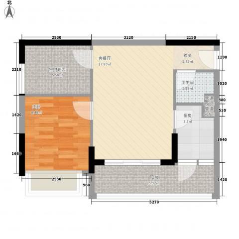 天烽新地1室1厅1卫1厨43.22㎡户型图