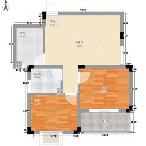 时代丽景苑2室1厅1卫1厨72.00㎡户型图