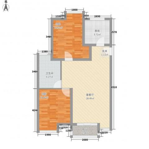 廊坊金玉源2室1厅1卫1厨96.00㎡户型图
