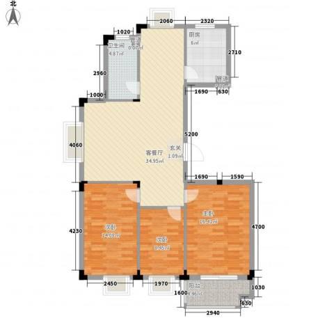 时代丽景苑3室1厅1卫1厨124.00㎡户型图