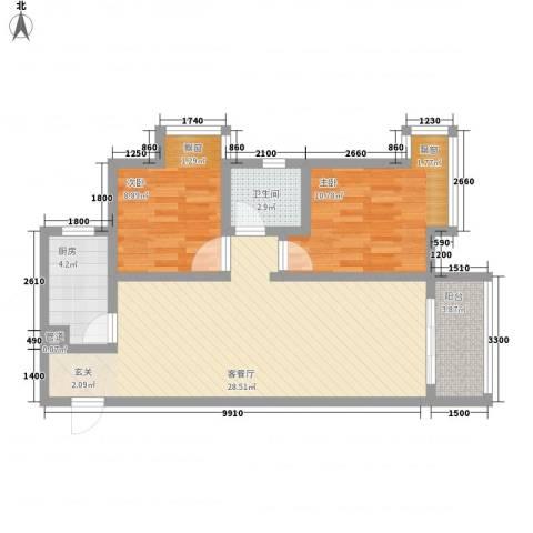 万象湾2室1厅1卫1厨87.00㎡户型图